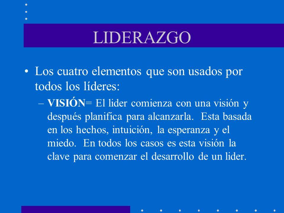 LIDERAZGO Los cuatro elementos que son usados por todos los líderes: –VISIÓN= El lider comienza con una visión y después planifica para alcanzarla. Es