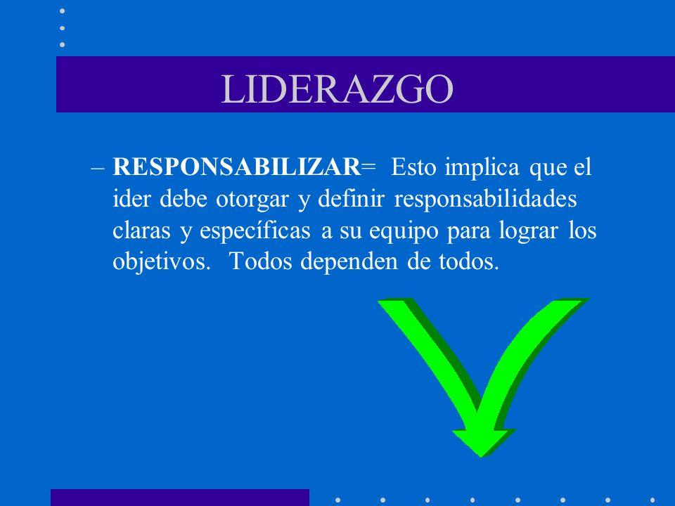 LIDERAZGO –RESPONSABILIZAR= Esto implica que el ider debe otorgar y definir responsabilidades claras y específicas a su equipo para lograr los objetiv