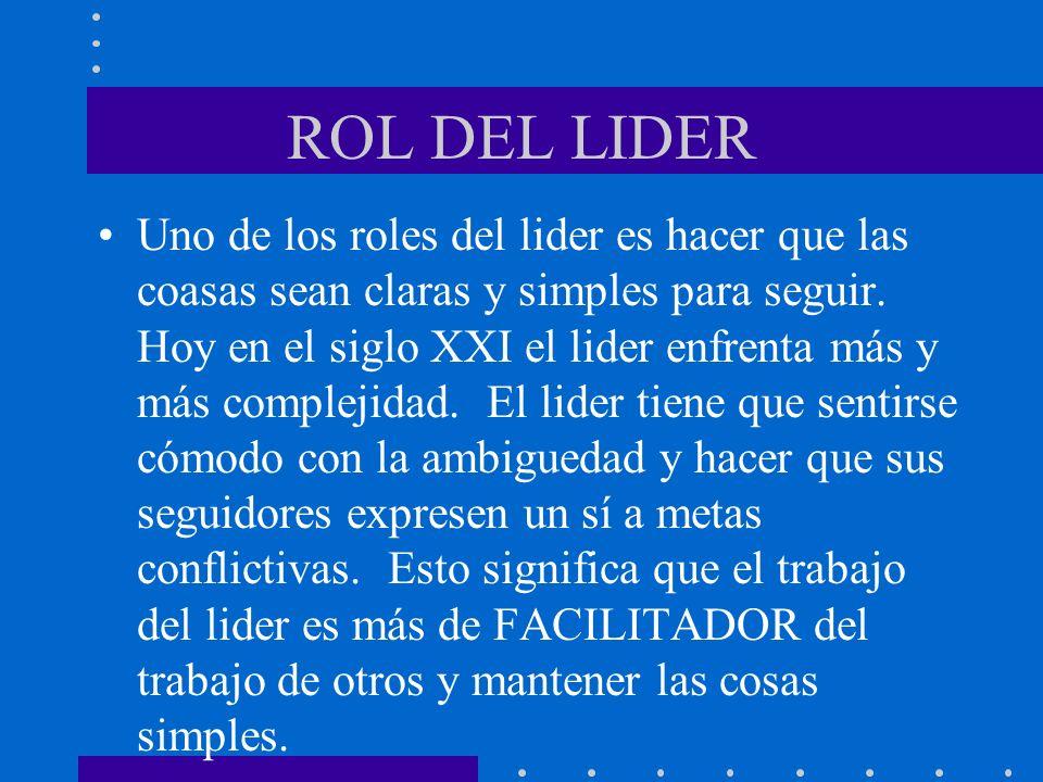 ROL DEL LIDER Uno de los roles del lider es hacer que las coasas sean claras y simples para seguir. Hoy en el siglo XXI el lider enfrenta más y más co