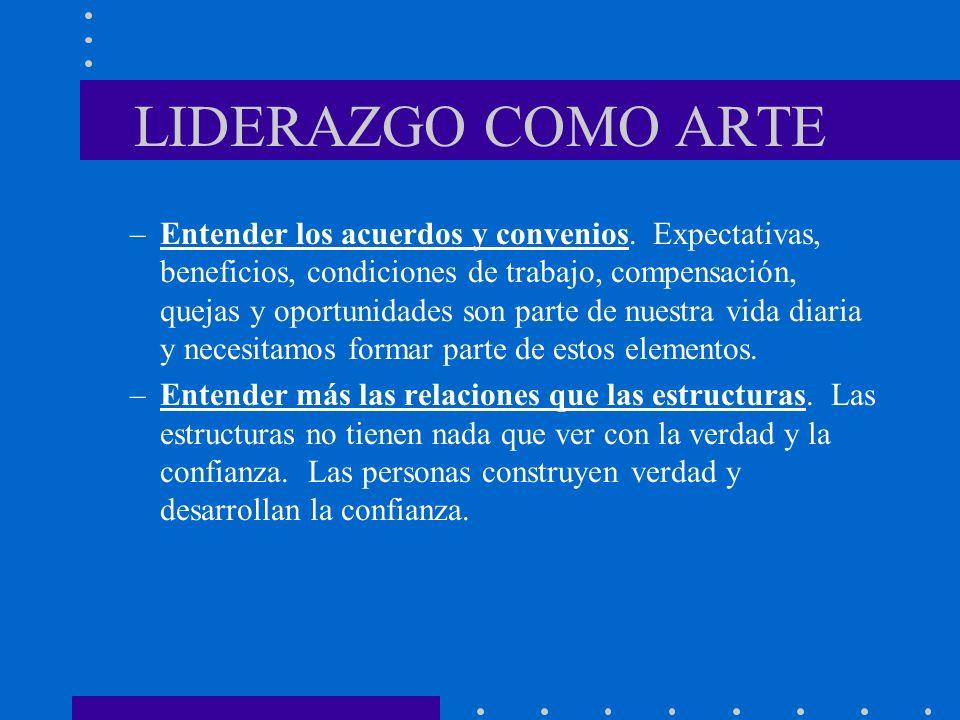 LIDERAZGO COMO ARTE –Entender los acuerdos y convenios. Expectativas, beneficios, condiciones de trabajo, compensación, quejas y oportunidades son par