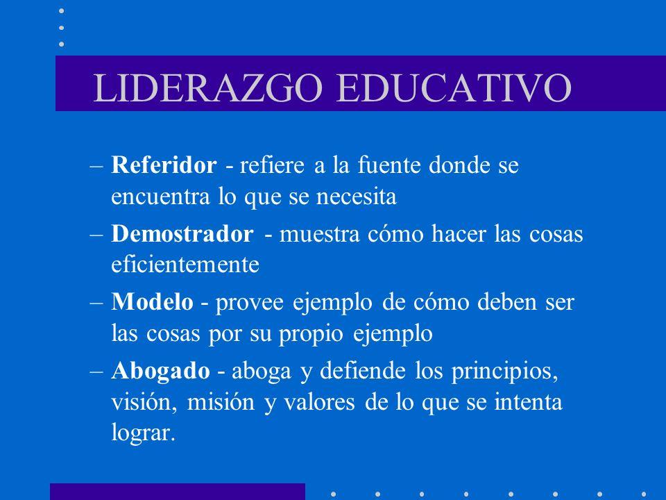 LIDERAZGO EDUCATIVO –Referidor - refiere a la fuente donde se encuentra lo que se necesita –Demostrador - muestra cómo hacer las cosas eficientemente