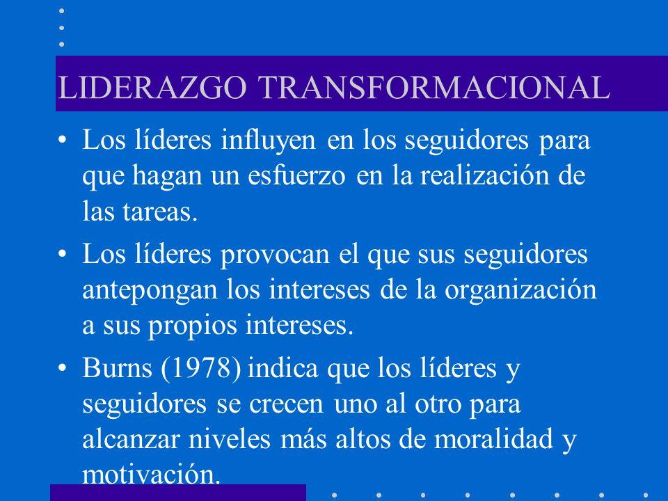 LIDERAZGO TRANSFORMACIONAL Los líderes influyen en los seguidores para que hagan un esfuerzo en la realización de las tareas. Los líderes provocan el