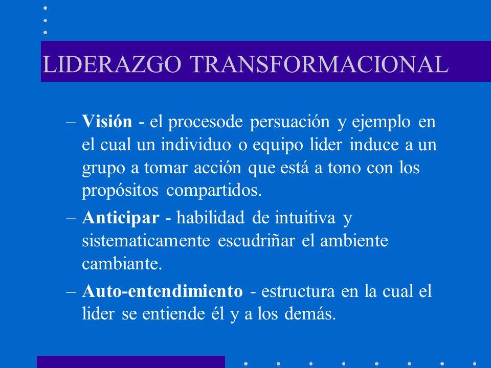 LIDERAZGO TRANSFORMACIONAL –Visión - el procesode persuación y ejemplo en el cual un individuo o equipo lider induce a un grupo a tomar acción que est