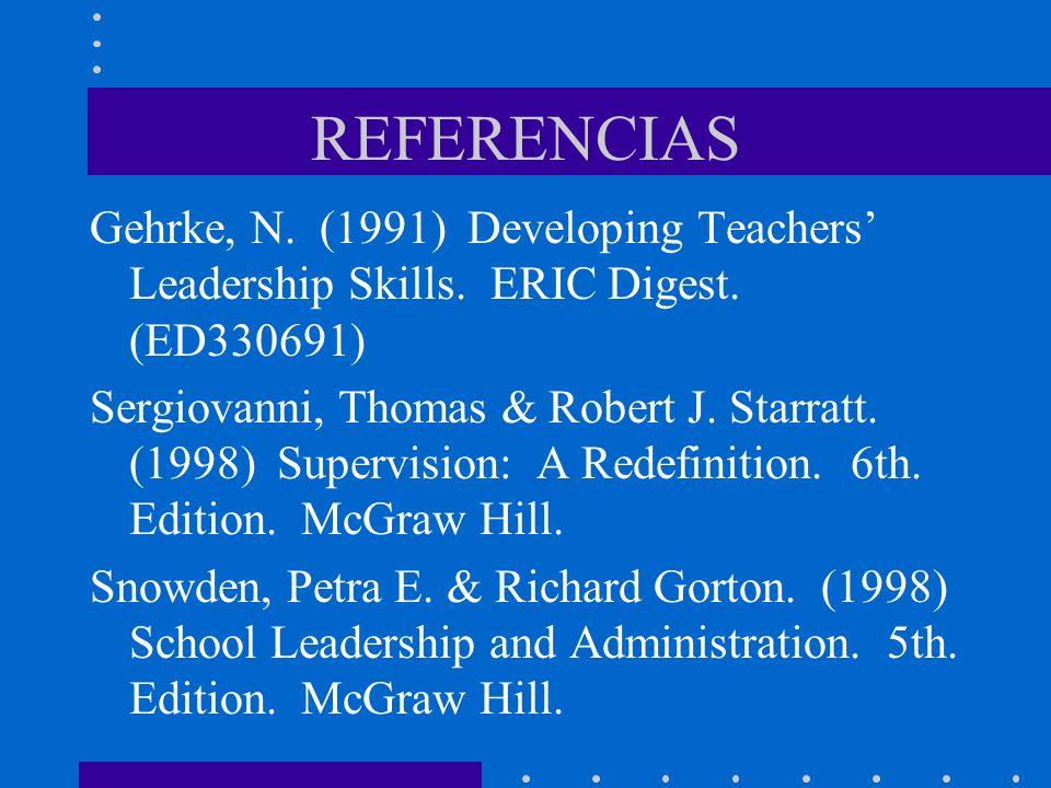 REFERENCIAS Gehrke, N. (1991) Developing Teachers Leadership Skills. ERIC Digest. (ED330691) Sergiovanni, Thomas & Robert J. Starratt. (1998) Supervis