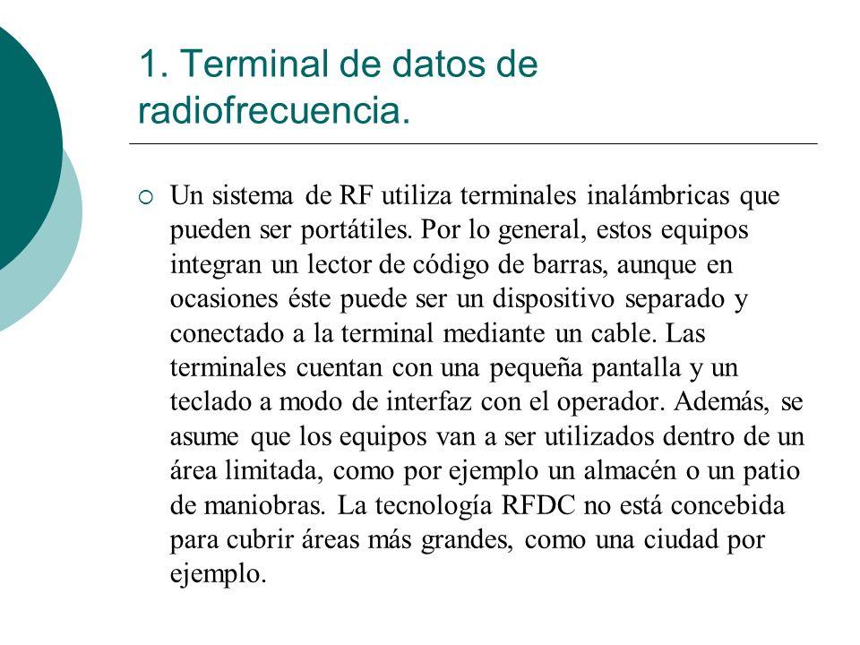 1. Terminal de datos de radiofrecuencia. Un sistema de RF utiliza terminales inalámbricas que pueden ser portátiles. Por lo general, estos equipos int