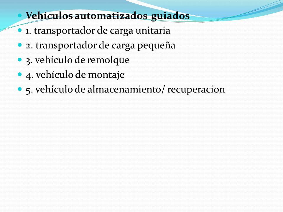 Vehículos automatizados guiados 1. transportador de carga unitaria 2. transportador de carga pequeña 3. vehículo de remolque 4. vehículo de montaje 5.