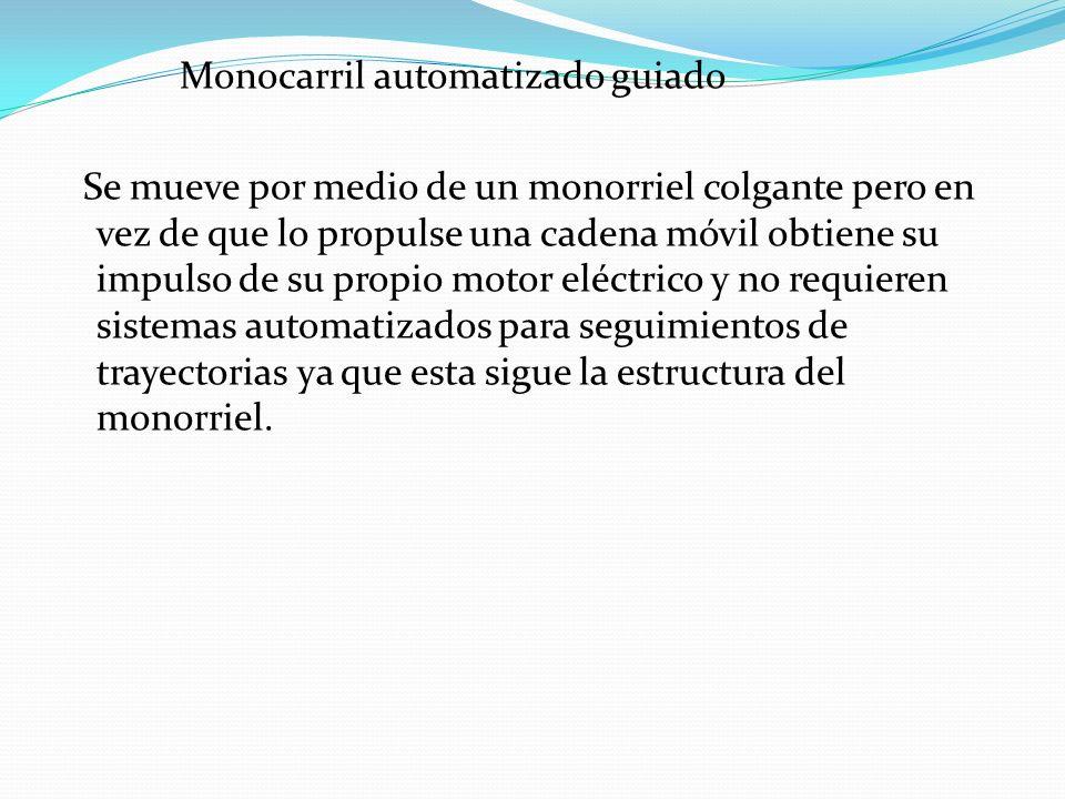 Monocarril automatizado guiado Se mueve por medio de un monorriel colgante pero en vez de que lo propulse una cadena móvil obtiene su impulso de su pr