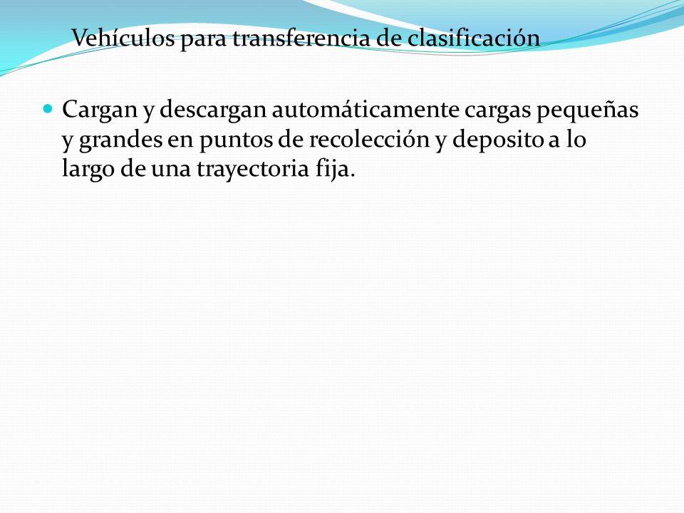 Vehículos para transferencia de clasificación Cargan y descargan automáticamente cargas pequeñas y grandes en puntos de recolección y deposito a lo la