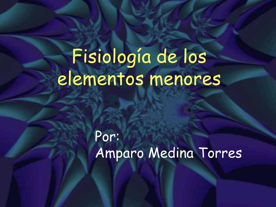 Fisiología de los elementos menores Por: Amparo Medina Torres