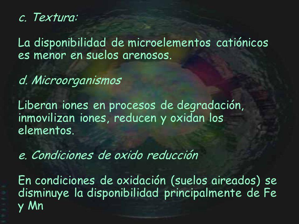 c. Textura: La disponibilidad de microelementos catiónicos es menor en suelos arenosos. d. Microorganismos Liberan iones en procesos de degradación, i