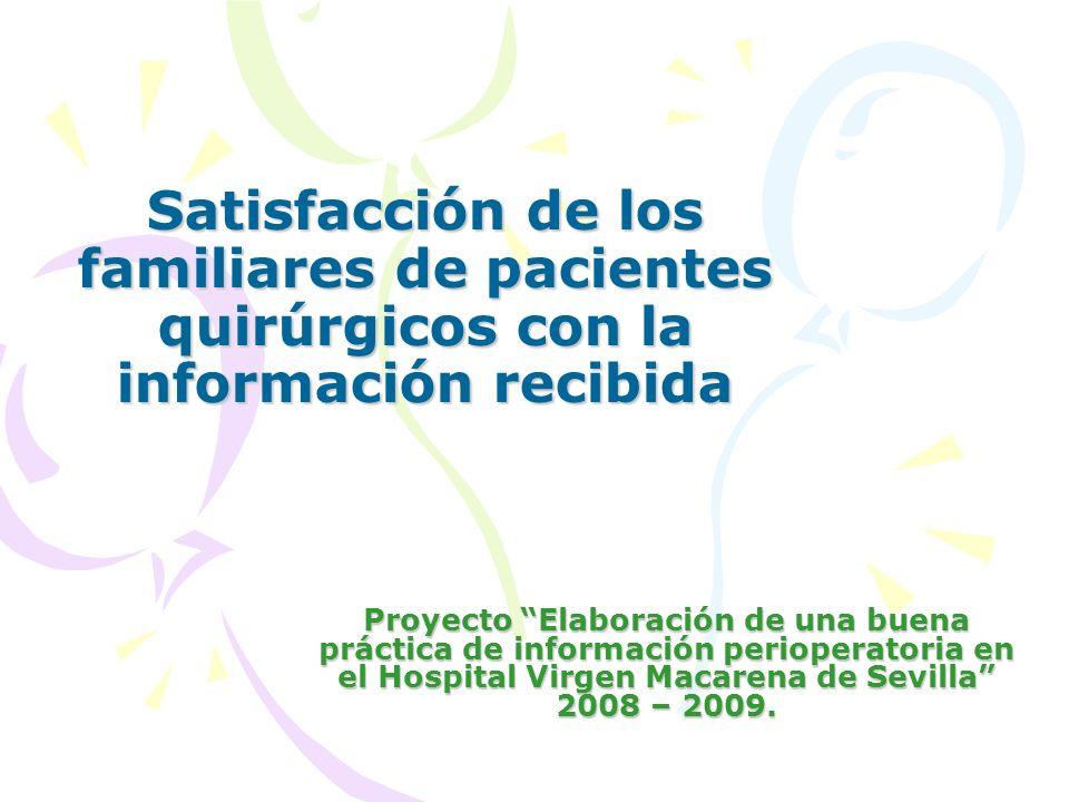 Satisfacción de los familiares de pacientes quirúrgicos con la información recibida Proyecto Elaboración de una buena práctica de información perioper