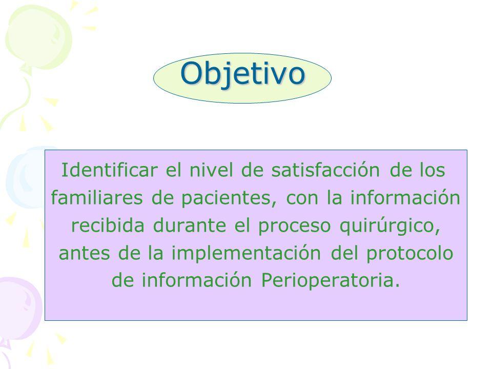 Objetivo Identificar el nivel de satisfacción de los familiares de pacientes, con la información recibida durante el proceso quirúrgico, antes de la i