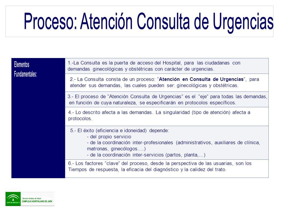 1.-La Consulta es la puerta de acceso del Hospital, para las ciudadanas con demandas ginecológicas y obstétricas con carácter de urgencias. 2.- La Con