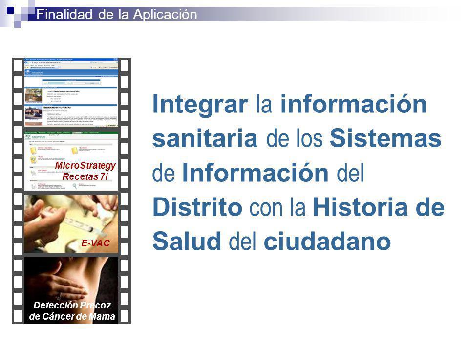 Integrar la información sanitaria de los Sistemas de Información del Distrito con la Historia de Salud del ciudadano Finalidad de la Aplicación MicroS