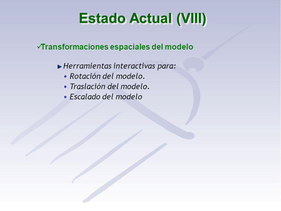 Estado Actual (VIII) Transformaciones espaciales del modelo Herramientas interactivas para: Rotación del modelo. Traslación del modelo. Escalado del m