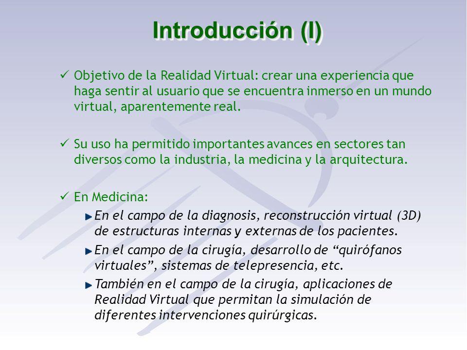 Introducción (I) Objetivo de la Realidad Virtual: crear una experiencia que haga sentir al usuario que se encuentra inmerso en un mundo virtual, apare