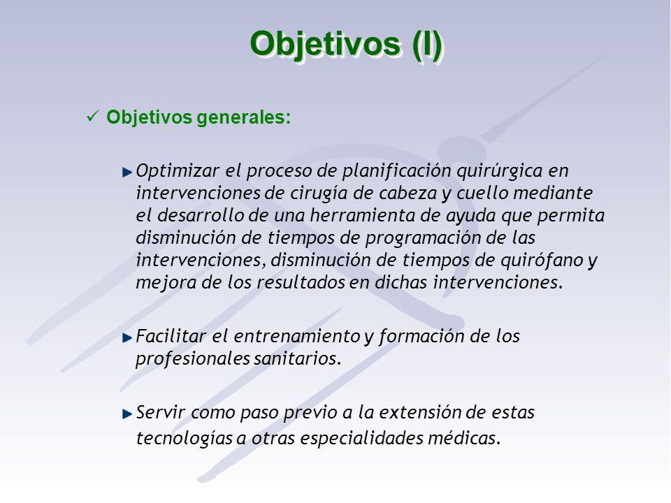 Objetivos (I) Objetivos generales: Optimizar el proceso de planificación quirúrgica en intervenciones de cirugía de cabeza y cuello mediante el desarr