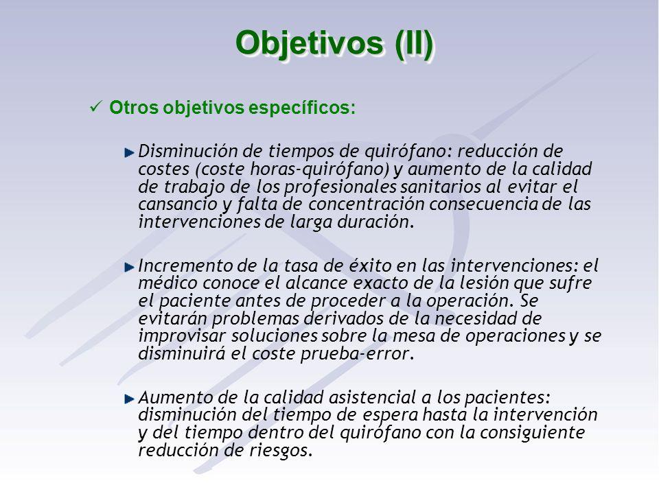 Objetivos (II) Otros objetivos específicos: Disminución de tiempos de quirófano: reducción de costes (coste horas-quirófano) y aumento de la calidad d