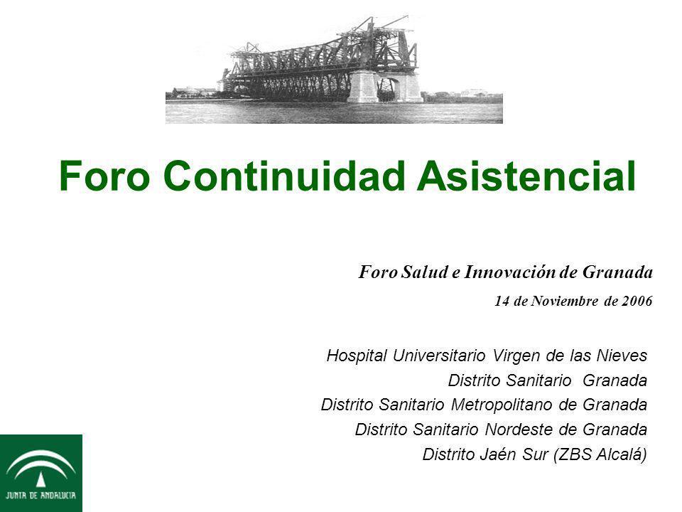 Foro Continuidad Asistencial Hospital Universitario Virgen de las Nieves Distrito Sanitario Granada Distrito Sanitario Metropolitano de Granada Distri