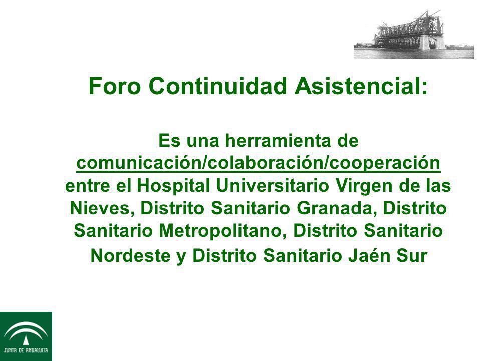 Foro Continuidad Asistencial: Es una herramienta de comunicación/colaboración/cooperación entre el Hospital Universitario Virgen de las Nieves, Distri