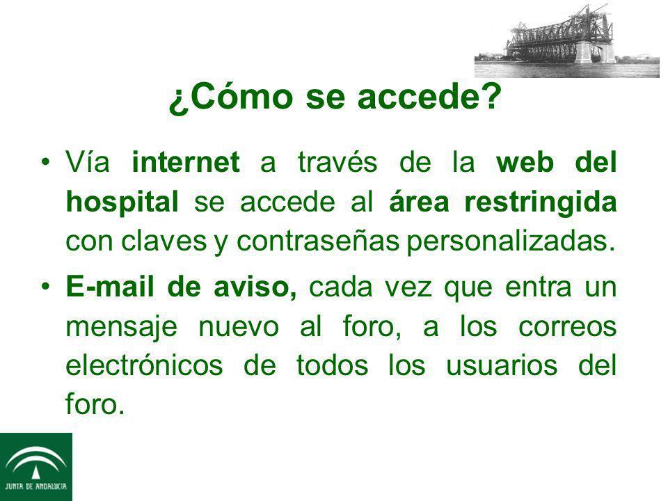 ¿Cómo se accede? Vía internet a través de la web del hospital se accede al área restringida con claves y contraseñas personalizadas. E-mail de aviso,