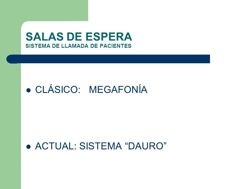SALAS DE ESPERA SISTEMA DE LLAMADA DE PACIENTES CLÁSICO: MEGAFONÍA ACTUAL: SISTEMA DAURO