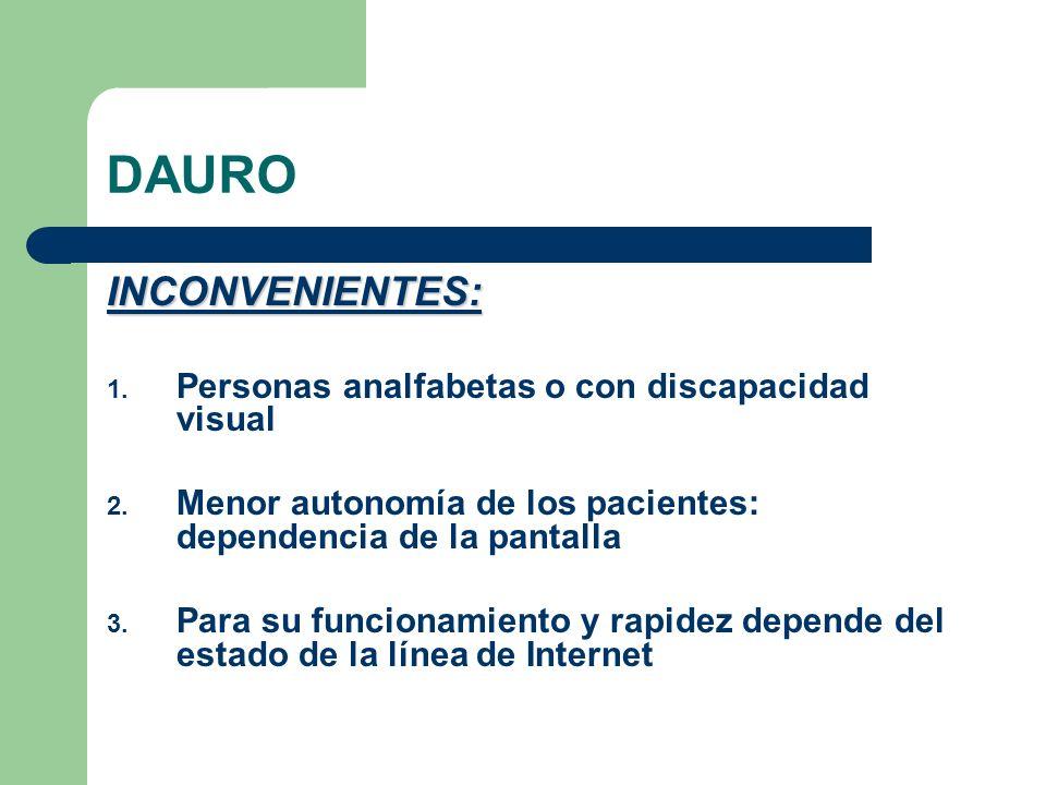 DAURO INCONVENIENTES: 1. Personas analfabetas o con discapacidad visual 2. Menor autonomía de los pacientes: dependencia de la pantalla 3. Para su fun