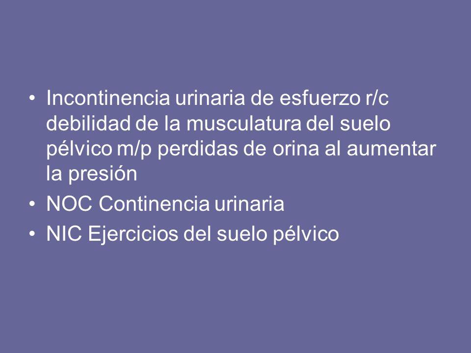 Incontinencia urinaria de urgencia r/c disminución de la capacidad vesical m/p urgencia al orinar NOC Continencia urinaria NIC Entrenamiento del hábito urinario Ejercicios del suelo pélvico