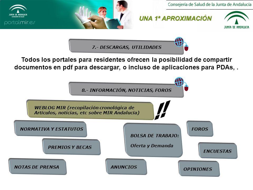UNA 1ª APROXIMACIÓN 7.- DESCARGAS, UTILIDADES Todos los portales para residentes ofrecen la posibilidad de compartir documentos en pdf para descargar, o incluso de aplicaciones para PDAs,.