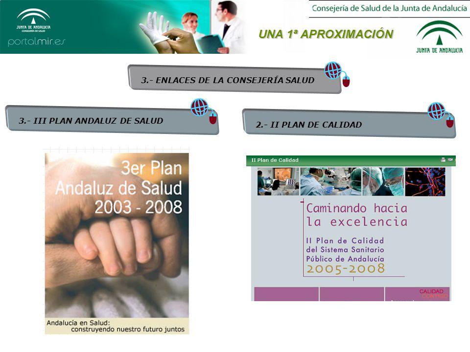 UNA 1ª APROXIMACIÓN 3.- ENLACES DE LA CONSEJERÍA SALUD 3.- III PLAN ANDALUZ DE SALUD 2.- II PLAN DE CALIDAD