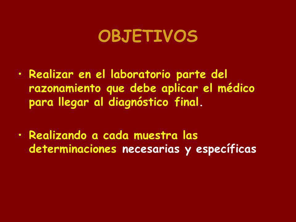 OBJETIVOS Realizar en el laboratorio parte del razonamiento que debe aplicar el médico para llegar al diagnóstico final. Realizando a cada muestra las