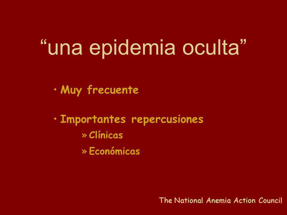 una epidemia oculta Muy frecuente Importantes repercusiones »Clínicas »Económicas The National Anemia Action Council