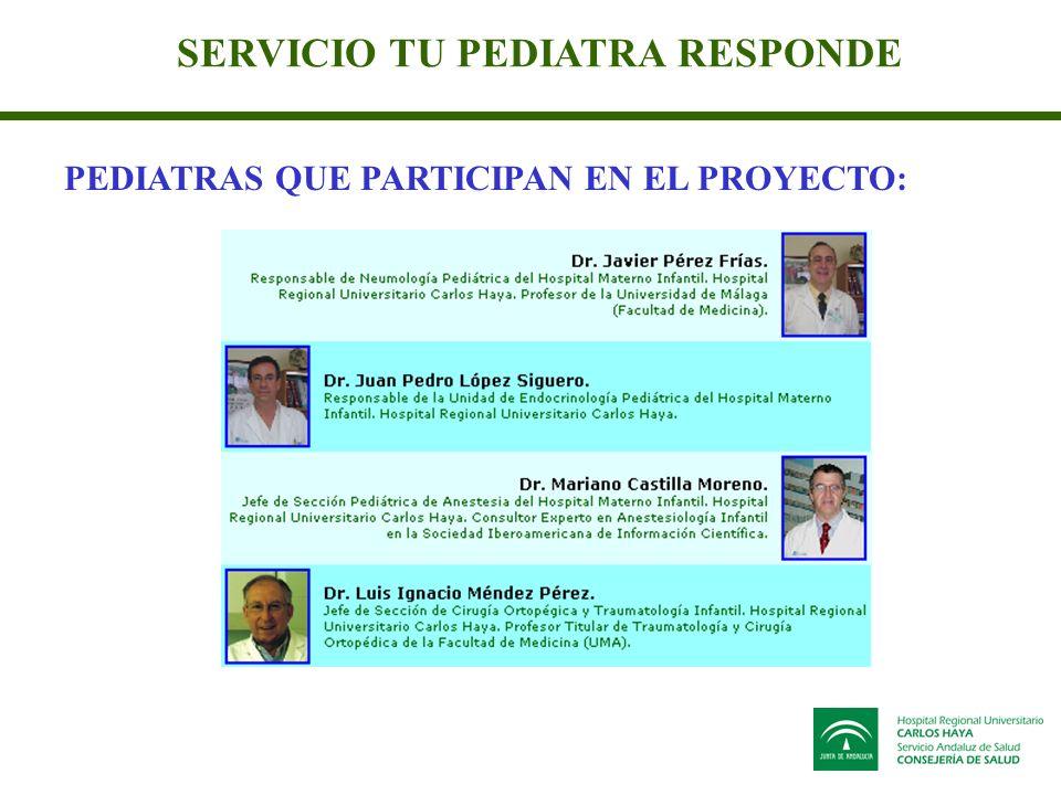 SERVICIO TU PEDIATRA RESPONDE PEDIATRAS QUE PARTICIPAN EN EL PROYECTO: