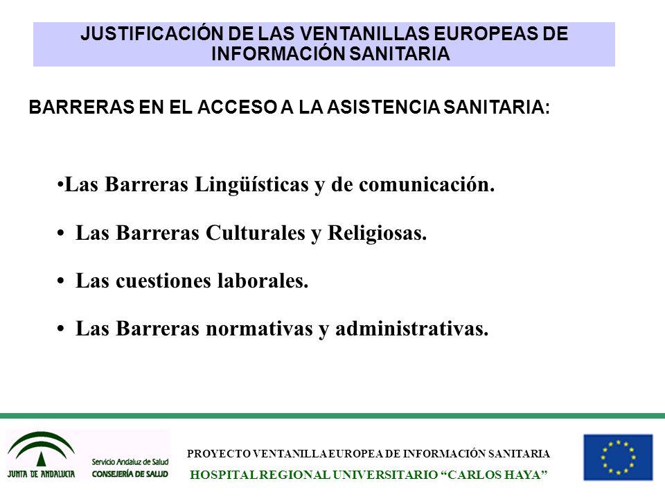 PROYECTO VENTANILLA EUROPEA DE INFORMACIÓN SANITARIA HOSPITAL REGIONAL UNIVERSITARIO CARLOS HAYA Las Barreras Lingüísticas y de comunicación. Las Barr