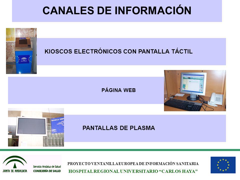 PROYECTO VENTANILLA EUROPEA DE INFORMACIÓN SANITARIA HOSPITAL REGIONAL UNIVERSITARIO CARLOS HAYA CANALES DE INFORMACIÓN KIOSCOS ELECTRÓNICOS CON PANTA