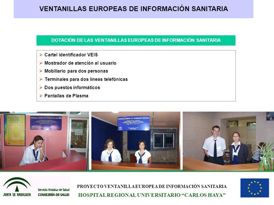 PROYECTO VENTANILLA EUROPEA DE INFORMACIÓN SANITARIA HOSPITAL REGIONAL UNIVERSITARIO CARLOS HAYA VENTANILLAS EUROPEAS DE INFORMACIÓN SANITARIA DOTACIÓ