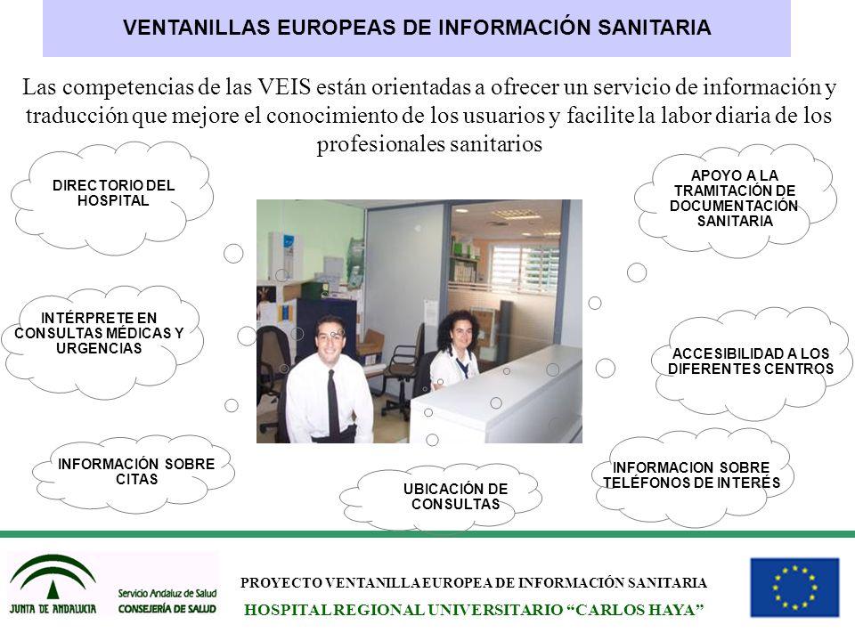 PROYECTO VENTANILLA EUROPEA DE INFORMACIÓN SANITARIA HOSPITAL REGIONAL UNIVERSITARIO CARLOS HAYA VENTANILLAS EUROPEAS DE INFORMACIÓN SANITARIA Las com