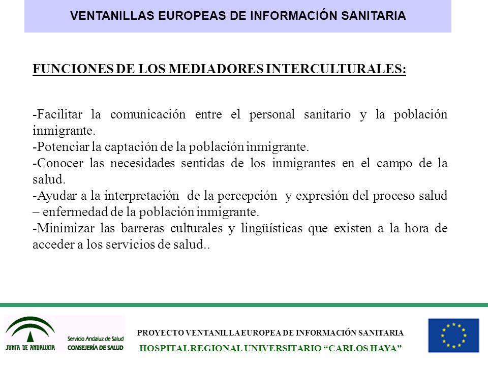 PROYECTO VENTANILLA EUROPEA DE INFORMACIÓN SANITARIA HOSPITAL REGIONAL UNIVERSITARIO CARLOS HAYA VENTANILLAS EUROPEAS DE INFORMACIÓN SANITARIA FUNCION