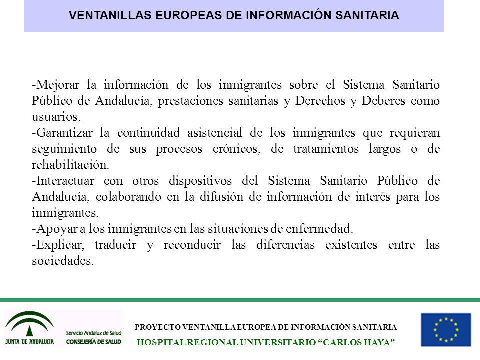 PROYECTO VENTANILLA EUROPEA DE INFORMACIÓN SANITARIA HOSPITAL REGIONAL UNIVERSITARIO CARLOS HAYA VENTANILLAS EUROPEAS DE INFORMACIÓN SANITARIA -Mejora