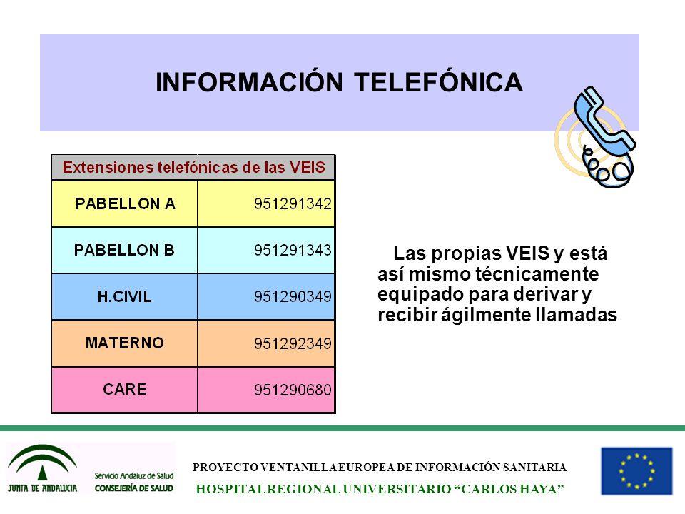 PROYECTO VENTANILLA EUROPEA DE INFORMACIÓN SANITARIA HOSPITAL REGIONAL UNIVERSITARIO CARLOS HAYA INFORMACIÓN TELEFÓNICA Las propias VEIS y está así mi