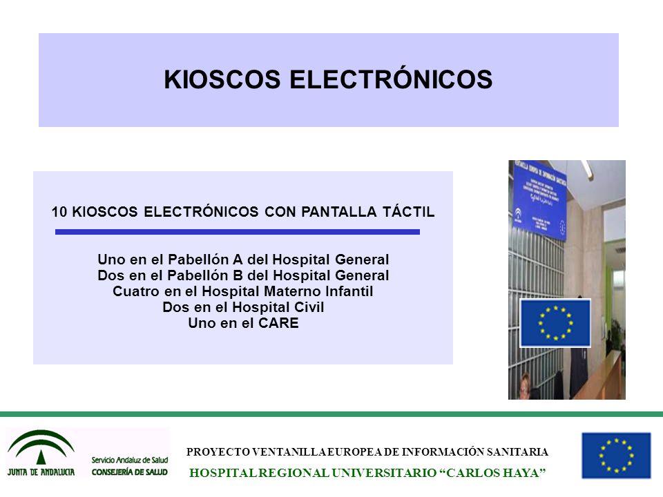 PROYECTO VENTANILLA EUROPEA DE INFORMACIÓN SANITARIA HOSPITAL REGIONAL UNIVERSITARIO CARLOS HAYA KIOSCOS ELECTRÓNICOS 10 KIOSCOS ELECTRÓNICOS CON PANT