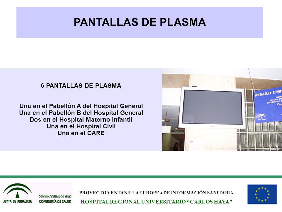 PROYECTO VENTANILLA EUROPEA DE INFORMACIÓN SANITARIA HOSPITAL REGIONAL UNIVERSITARIO CARLOS HAYA PANTALLAS DE PLASMA 6 PANTALLAS DE PLASMA Una en el P