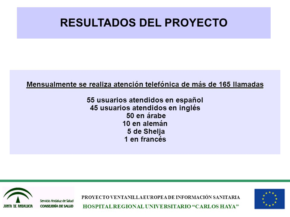 PROYECTO VENTANILLA EUROPEA DE INFORMACIÓN SANITARIA HOSPITAL REGIONAL UNIVERSITARIO CARLOS HAYA RESULTADOS DEL PROYECTO Mensualmente se realiza atenc
