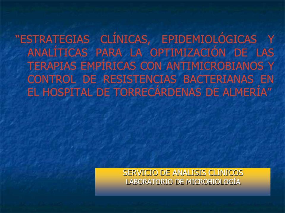 ESTRATEGIAS CLÍNICAS, EPIDEMIOLÓGICAS Y ANALÍTICAS PARA LA OPTIMIZACIÓN DE LAS TERAPIAS EMPÍRICAS CON ANTIMICROBIANOS Y CONTROL DE RESISTENCIAS BACTER