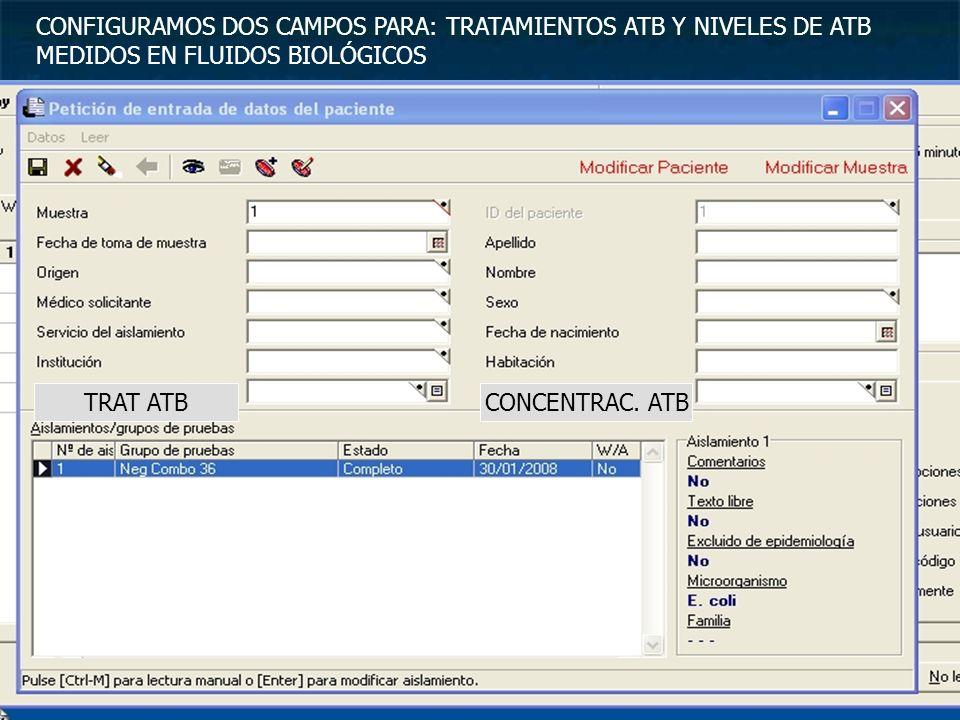 CONFIGURAMOS DOS CAMPOS PARA: TRATAMIENTOS ATB Y NIVELES DE ATB MEDIDOS EN FLUIDOS BIOLÓGICOS TRAT ATBCONCENTRAC. ATB