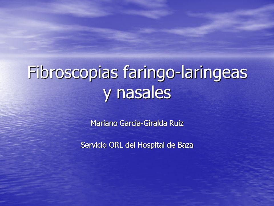 Fibroscopias faringo-laringeas y nasales Mariano Garcia-Giralda Ruiz Servicio ORL del Hospital de Baza