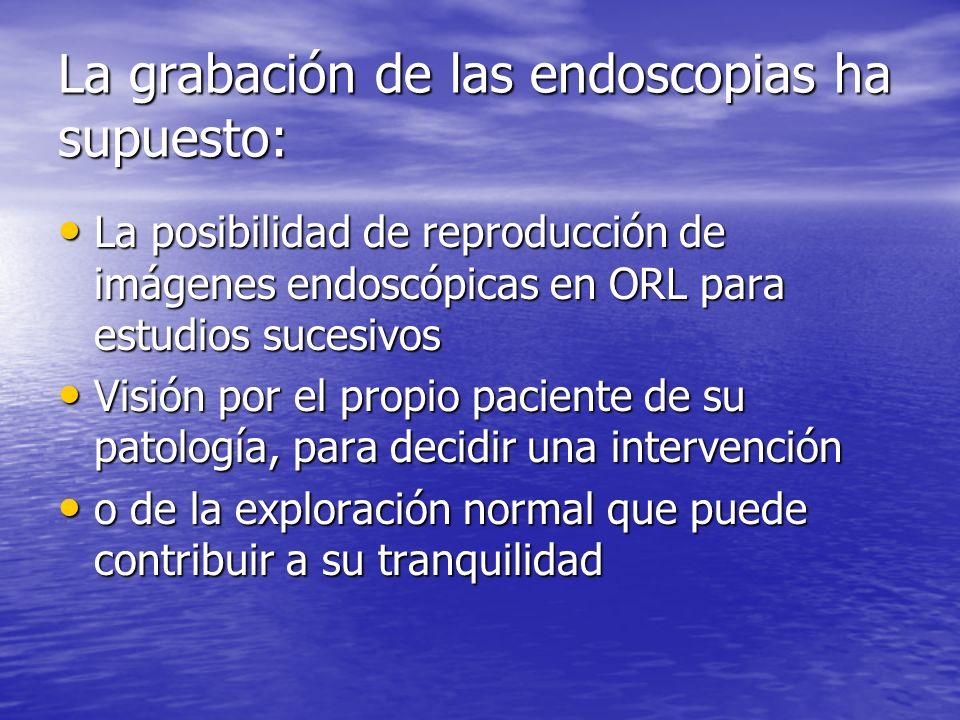 La grabación de las endoscopias ha supuesto: La posibilidad de reproducción de imágenes endoscópicas en ORL para estudios sucesivos La posibilidad de