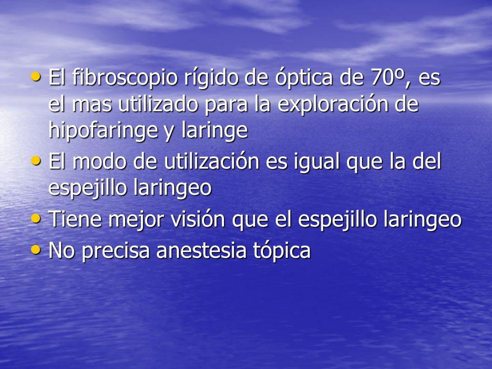 El fibroscopio rígido de óptica de 70º, es el mas utilizado para la exploración de hipofaringe y laringe El fibroscopio rígido de óptica de 70º, es el