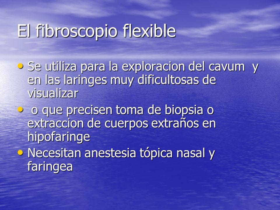El fibroscopio flexible Se utiliza para la exploracion del cavum y en las laringes muy dificultosas de visualizar Se utiliza para la exploracion del c