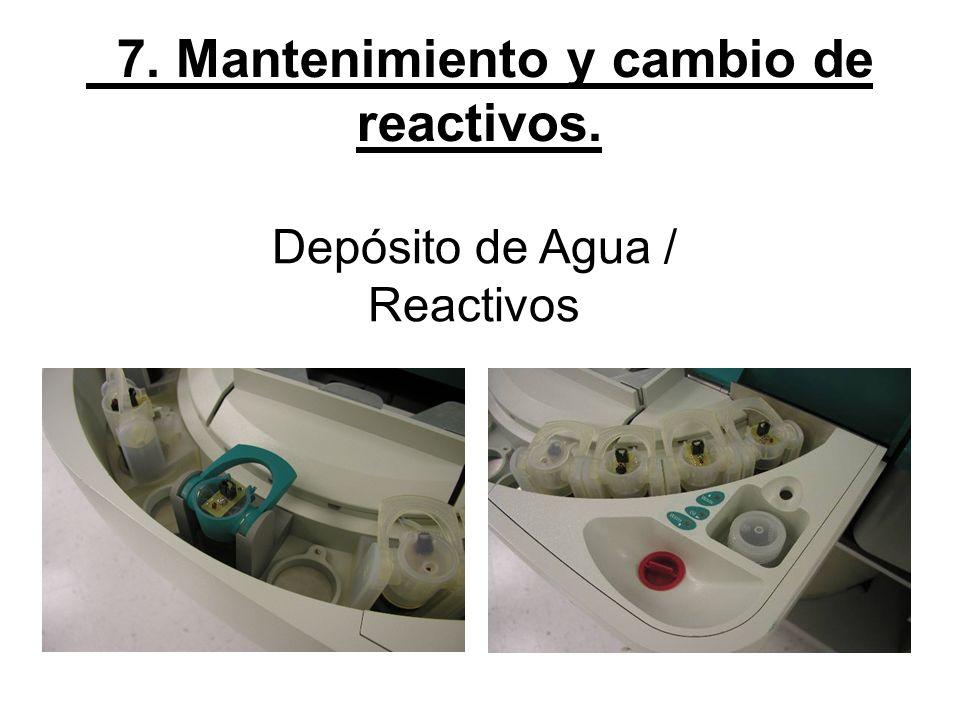 7. Mantenimiento y cambio de reactivos. Depósito de Agua / Reactivos